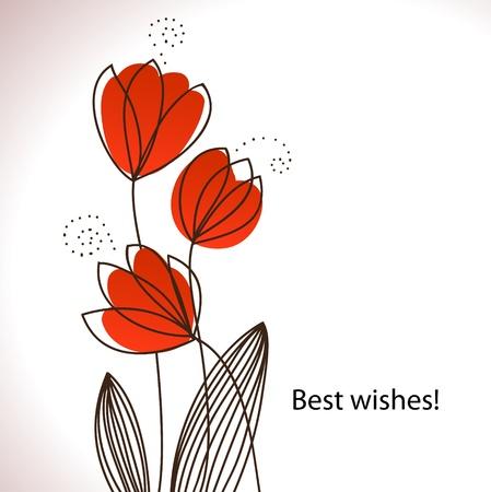 tulipe rouge: Carte avec des fleurs stylis�es de style r�tro