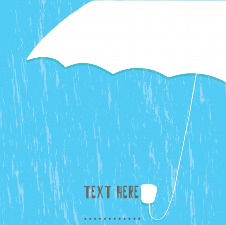 White umbrella and rain drops art