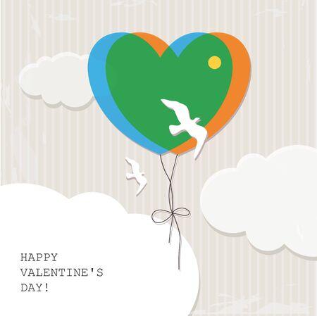 Valentine s background with birds Stock Vector - 17988014