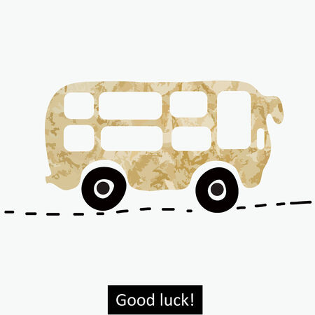 School bus on the old paper background  Vector art Illustration