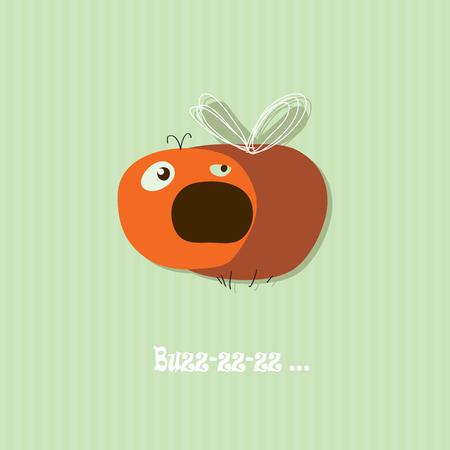 Cute fly  Vector card