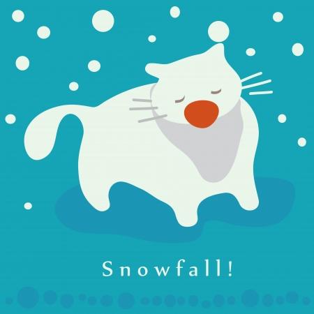 Cat and snowfall  Winter holidays card Illustration