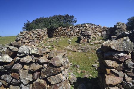Old refuges of shepherds of Monte Cardueru Stock Photo