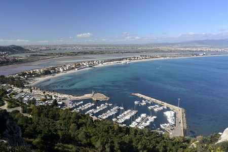 Panorama of Poetto and Cagliari