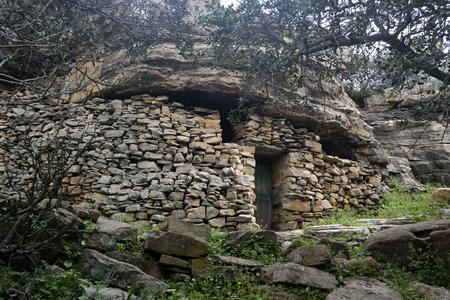 Refuge under rock of the shepherd 版權商用圖片