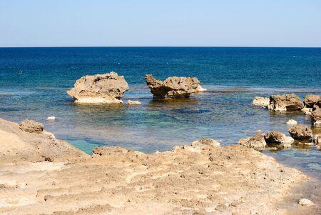 View of the coast of Su Pallosu Imagens