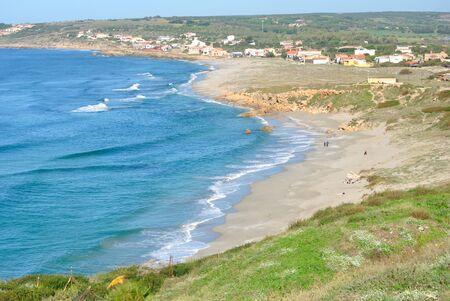 View of San Giovanni beach or Tharros 스톡 콘텐츠