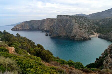 View of Cala Domestica beach 스톡 콘텐츠