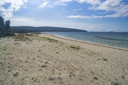 View of Is Solinas beach