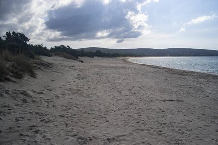 View of Is Solinas beach 스톡 콘텐츠 - 133148855