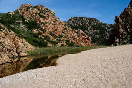 View of Li Cossi beach Stockfoto