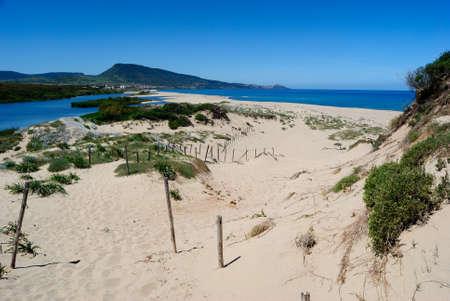 View of the Pirotti Li Frati beach, on the left the Coghinas river Stockfoto