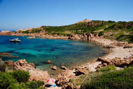 View of Lu Poltu Pitrosu beach, near Punta Canneddi Stockfoto