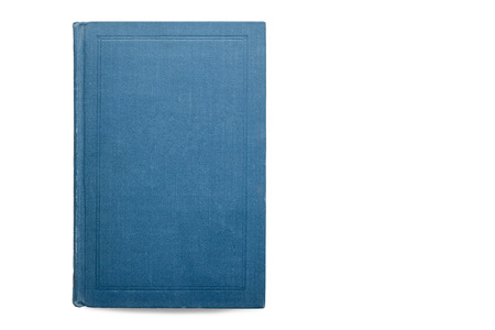 One blue beautiful closed book on white isolate background. beautiful blue book cover view from the top