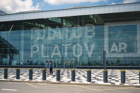 Airport Platov, Russia - 24.05.19: airport Platov close-up. front of the airport with the words Platov on the glass
