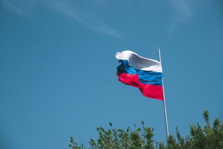 Beautiful waving Russian flag on a background of blue sky and green trees. Waving Russian flag against the sky and green leaves.