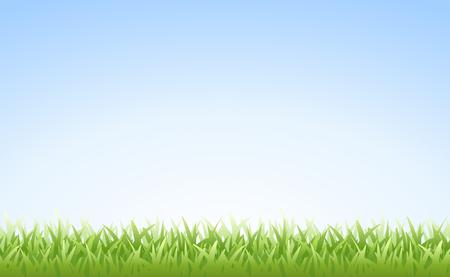 朝の澄んだ青い空の上の草  イラスト・ベクター素材