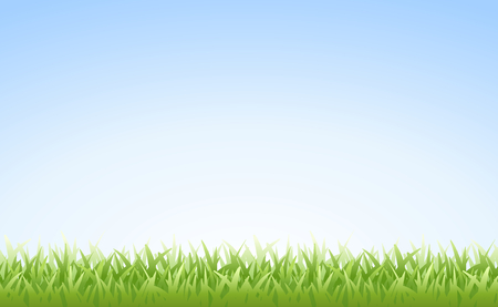 Grass on Clear Blue Morning Sky Vector