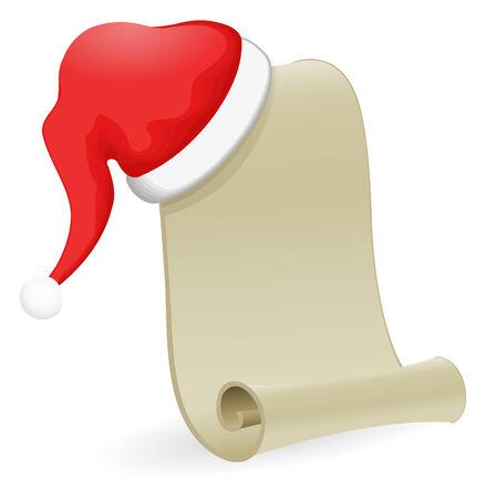 letter from santa: Santa Claus Hat on Christmas List Illustration