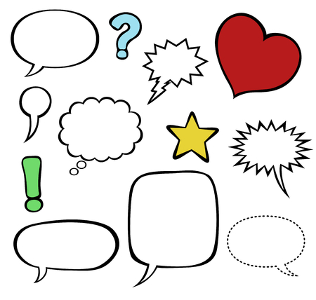 speech marks: Comics style speech bubble baloons