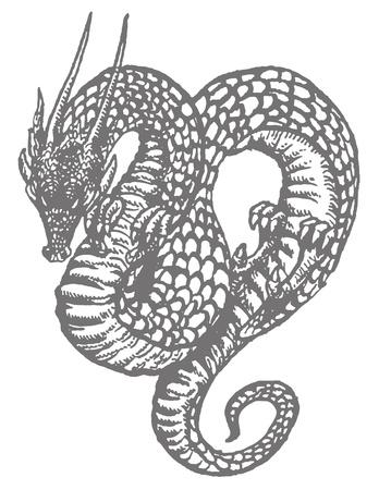 東洋のドラゴンまたは古い木版イラストを連想させる蛇の描画インク。