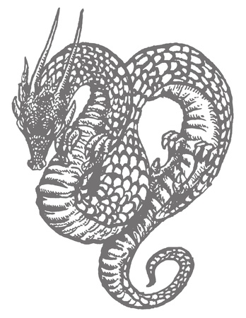 An ink drawing of an oriental dragon or serpent reminiscent of old woodcut illustrations. Illustration