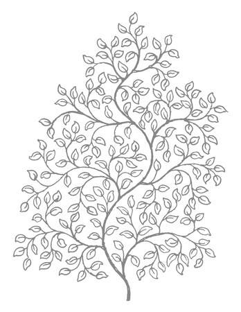 black and white line drawing: A retro style ink drawing of vines with leaves, reminiscent of old woodcut illustrations.