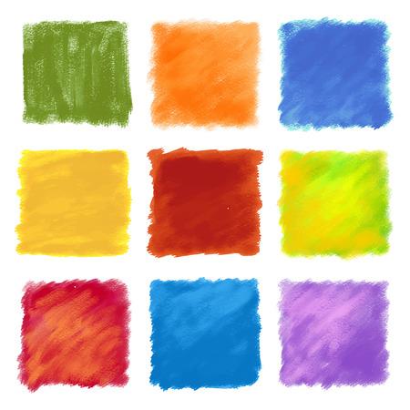 広場での多色模様ペイント ストロークのセット。ブラシ テクスチャで作られました。背景、フレーム、または境界線として適しています。  イラスト・ベクター素材