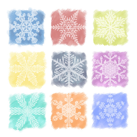 A set of multicolor snowflakes in watercolor pastels. For christmas and holiday decoration, ornament, and background.