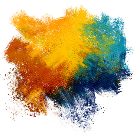 Colorful paint splash on watercolor paper background Imagens