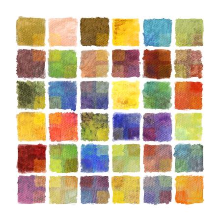 水彩紙のカラフルなペイント正方形の背景