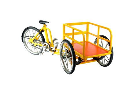 Front loading Carrier tricycle isolated on white Stock Photo