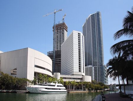 View of the Miami River and downtown with Offices and Apartments.