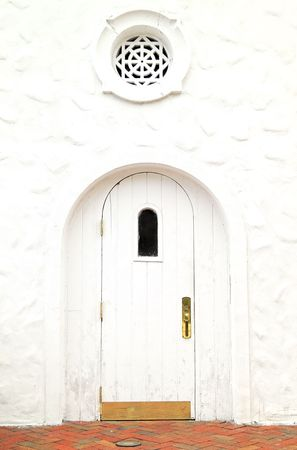 Close-up of an old door of a white building Stock Photo - 7079440