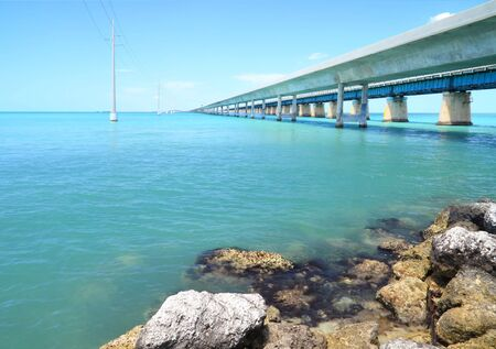 mile: The old and new  seven mile bridge in the Florida keys
