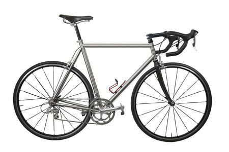 carbon steel: Isolated lightweight race bicycle with titanium frame