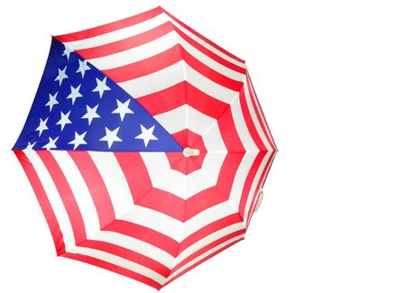 Close up of an American Flag Umbrella isolated on white Stock Photo - 9039821