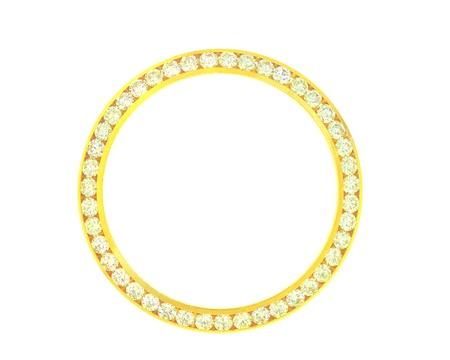 bezel: Very expensive handmade golden watch bezel with diamonds