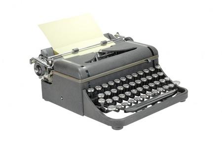 Old Black kopott vintage írógép, elszigetelt, fehér, háttér
