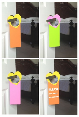 Collage of Do Not Disturb hangers in natural settings photo