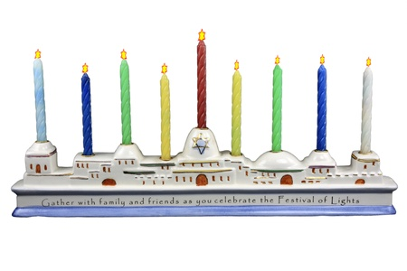 shalom: Isolation on white of a ceramic Menorah with colored candles and Star of David Flames