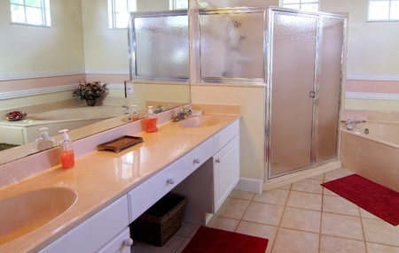Overview of an outdated bathroom in a private residence photo