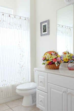 Overview of a small outdated bathroom in a private residence Stock Photo
