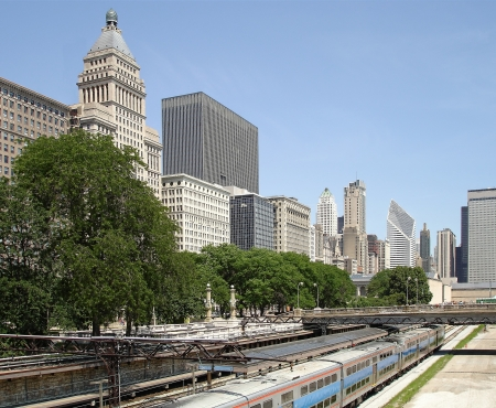 Downtown Chicago with a downtown train station to transport thousands of commuters every day  Stock Photo