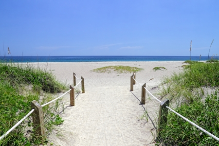 Entrance way to the beautiful scenic beach dunes  Stock Photo