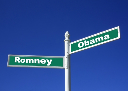 upcoming: street sign against a clear blue sky depicting the upcoming election for the president of the United States