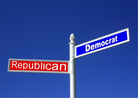 obama: street sign against a clear blue sky depicting Republican vs Democrat Party