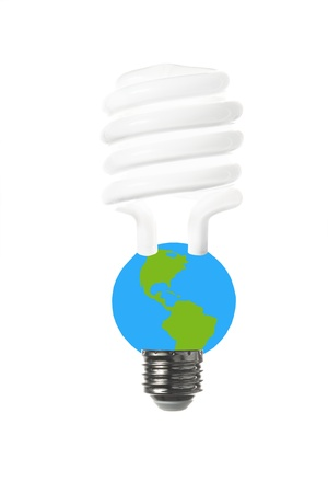 limitations: An energy saving fluorescent light bulb to express the vulnerability of the earth and the limitations of energy sources  Stock Photo