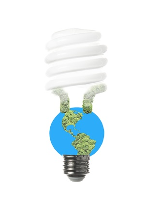 An energy saving fluorescent light bulb to express the vulnerability of the earth and the limitations of energy sources  Фото со стока