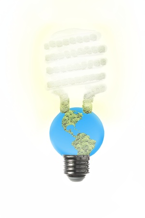 An energy saving fluorescent light bulb to express the vulnerability of the earth and the limitations of energy sources  Imagens